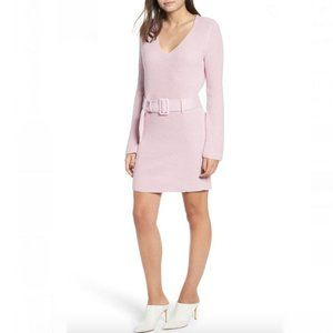 Leith- Purple V-Neck Belted Sweater Dress